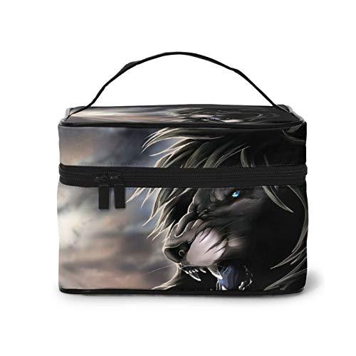 Cool Lion Trousse de maquillage portable pour femme avec fermeture éclair, noir (noir) - Black-48