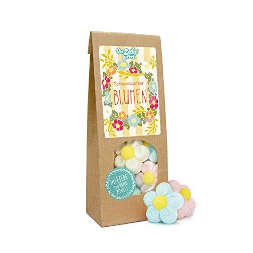 Schaumzucker Blumen, süße Wundertüte mit schaumig weichen Marshmallow-Blumen, Frühlingsgefühle in einer Tüte