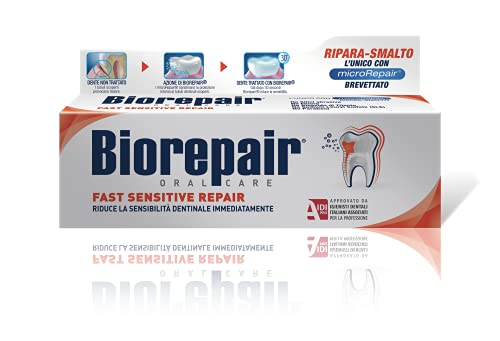 Biorepair Fast Sensitive Repair, Dentifricio per Denti Sensibili, Protegge lo Smalto, senza Fluoro,...