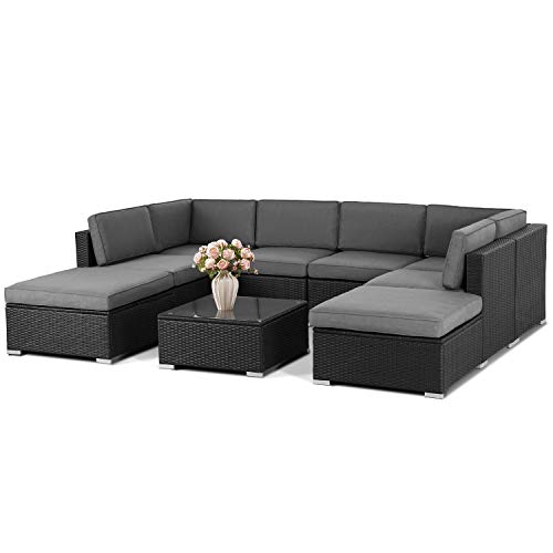 SUNCROWN Outdoor 9-Piece Patio Furniture Sets, All-Weather Black Brown Wicker Sectional Soft with Coffer Glass Table(Coffee Brown Cushion)