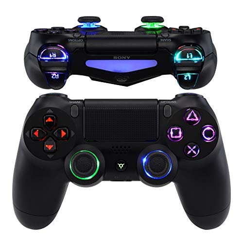 eXtremeRate PS4 Tasten Knöpfe Buttons D-Pad L1 R1 R2 L2 Trigger Thumbsticks DTFS LED Kit für Playstation 4 PS4 Controller CUH-ZCT2-Symbols Leuchttaste 10 Farben Modi 7 Bereiche(DTF 2.0)