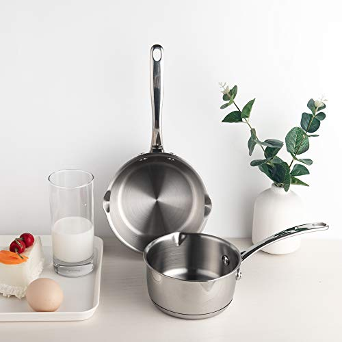 Product Image 4: IMEEA 1/2-Quart Saucepan Butter Warmer 18/10 Tri-Ply Stainless Steel Butter Melting Pot with Dual Pour Spouts