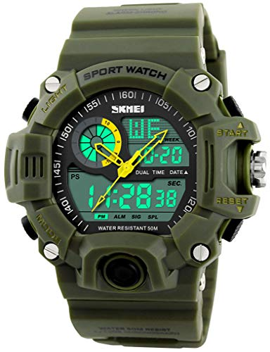 Mens Analog Digital Dual Display Sports Watches Military Multifunctional 50M Waterproof LED Watch with Alarm Stopwatch Backlight 12H/24H Outdoor Running Swimming (Green)