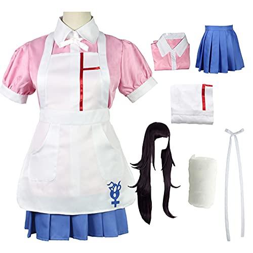 QDX Mikan Tsumiki Disfraz de cosplay Super Danganronpa 2 Mikan Cosplay Anime Cosplay Disfraz Disfraz de Halloween Cosplay Conjunto completo L