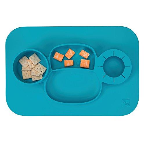 InterDesign IDjr assiette bébé, set de table enfant antidérapant en silicone, assiette ventouse avec motif de singe, turquoise