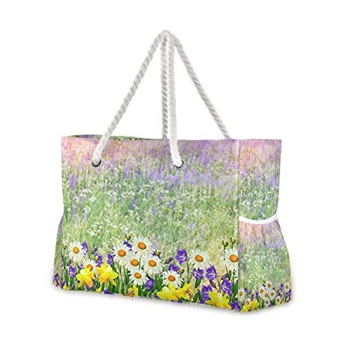 Bolsas de playa grandes Totes de lona, bolso de hombro, paisaje de verano con flores silvestres resistentes al agua, para gimnasio, viajes diarios