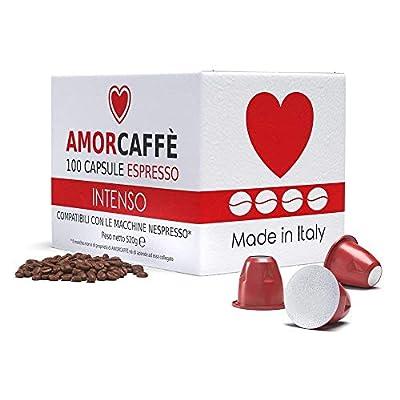 Amorcaffe 100 Nespresso Compatible Coffee Capsules Pods - Intenso Taste