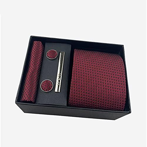 YFQHDD Conjuntos de Corbata de Moda Conjuntos de Cuello de Hombre Hankerchiefs Gemelos Caja de Clip de Boda Seda Hecho a Mano (Color : B)