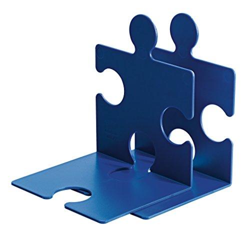 HAN Buchstütze PUZZLE – coole und verkettbare Buchstütze im modernen Puzzle-Look. Für CDs und Bücher, blau, 9212-14