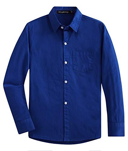 Spring&Gege Jungen Einfarbig Hemden Freizeit Baumwoll Klassisch Schuluniform für Kinder,Königsblau,11-12 Jahre