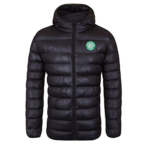 Celtic FC Official Soccer Gift Mens Quilted Hooded Winter Jacket XXL Black