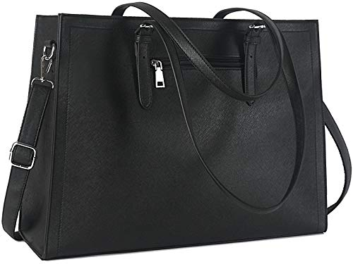 """CLASSY LAPTOP BAG: Made of prime water-resistant cross-grain leather and polyester lining, decorate with double stitched edge and silver tone accessories. A casual-chic laptop bag for women. LIGHTWEIGHT COMPUTER BAG: 16.8""""L x 5.2""""W x 12.6""""H; Weight: ..."""