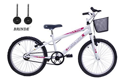 Bicicleta Aro 20 Infantil Feminina Passeio+Rodinhas De Brinde (Branco)