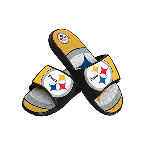 FOCO NFL Pittsburgh Steelers Mens Sport Shower Gel Slide Flip Flop SandalsSport Shower Gel Slide Flip Flop Sandals, Colorblock Big Logo, Large (11-12) (FFSSNFCBBLGGEL)