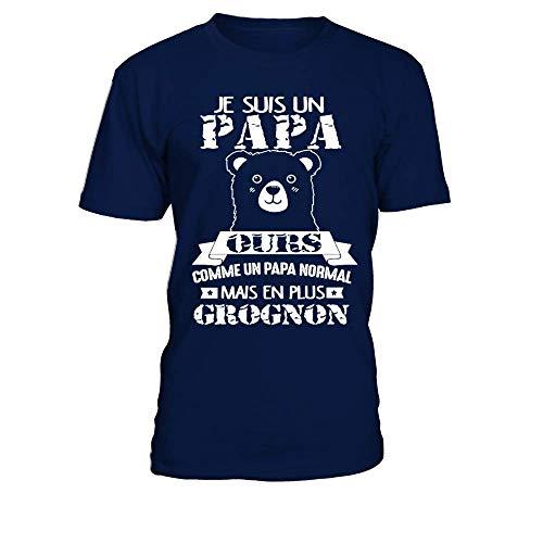 TEEZILY T-Shirt Homme Je suis Un Papa Ours Plus Grognon! - Bleu Marine - 4XL