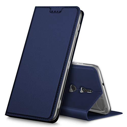 Verco Handyhülle für Xperia XZ3, Premium Handy Flip Cover für Sony Xperia XZ3 Hülle [integr. Magnet] Book Hülle PU Leder Tasche, Blau