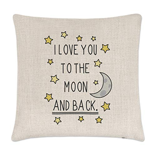 Gift Base I Love You To The Moon And Back Leinen Kissenbezug