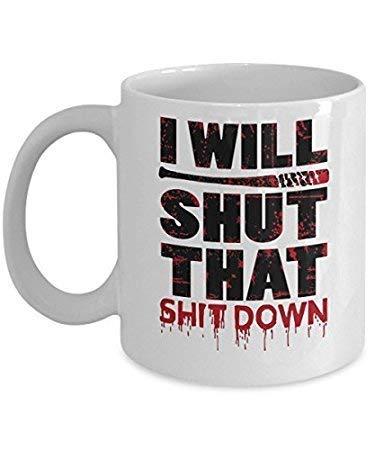 N\A Cerraré Esa mercancía de Walking Dead Esta Taza de café de Negan Walking Dead Lucille Rick Grimes Daryl Glenn Ezekiel Taza de Cacao Cualquier Fan.
