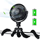 5200 mAh Personal Stroller Fan, Small Battery Operated Clip-on Versatile Fan with Flexible Tripod, Rechargeable Desk Fans, 4 Speeds, Max 20 hrs, USB Powered,360°Rotation, for Car, Camping, Outage,4''