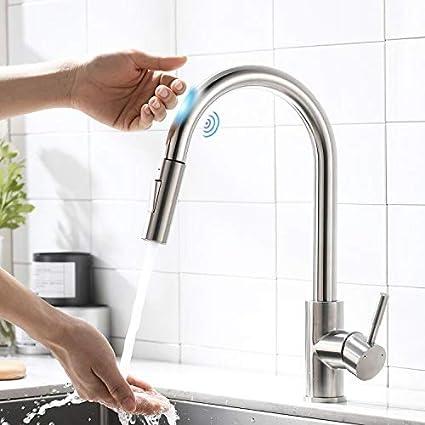 AIMADI Grifo de cocina con sensor táctil, grifo de cocina con ducha extensible, giratorio 360°, grifo mezclador monomando de níquel cepillado