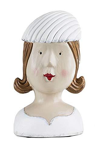 Tête décorative avec coquillage, tête de femme et fille