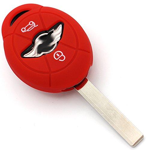Schlüssel Hülle MIC für 2 Tasten Auto Schlüssel Silikon Cover von Finest-Folia (Rot)