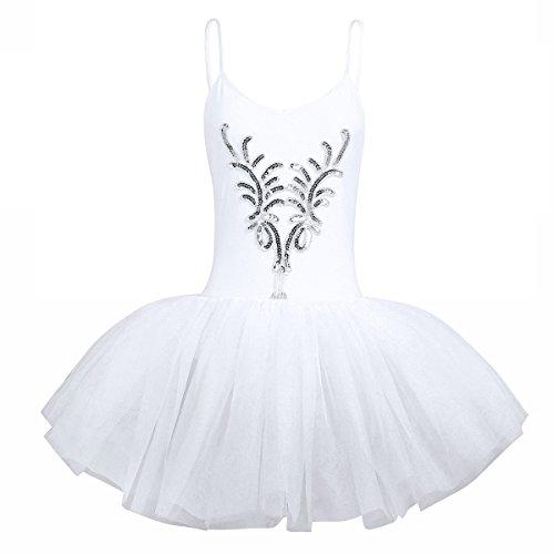 CHICTRY Damen Ballettanzug Ballett Tütü Trikot Anzug Damenkleider Ballettkleid Tanz Kostüm Leotard Sets mit Armband Weiß Large