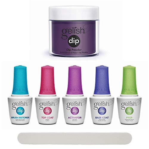 Gelish Professional Nail Dip Starter Kit with Deep Purple Shimmer Color