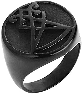 Mens Boys Sigil of Lucifer Stainless Steel Seal of Satan Stainless Steel Gold Black Finger Band Ring US Size 7-13
