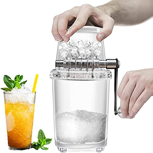 EFEG Manual Crushed Ice Maker, Hand Shaved Ice Machine, Hand Crank Ice Shaver, 9.4 inch Portable Small Ice Crusher, for Home/Bar Restaurant/Party Cold Drinks, (Transparent)