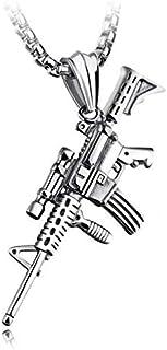 الهيب هوب شخصية بندقية بندقية التيتانيوم قلادة قلادة مجوهرات للرجال - الفضة