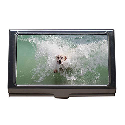 Portatarjetas de visita, Dog Wave Surf Water Beach Play Wet Animal World, Estuche para tarjetas de visita de acero inoxidable