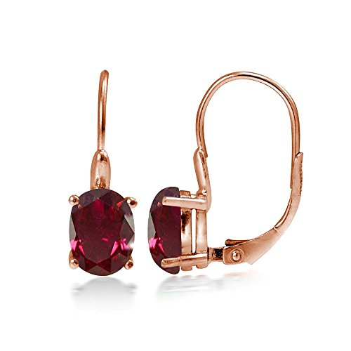 Rose Gold Flashed Sterling Silver Created Ruby 8x6mm Oval Leverback Earrings