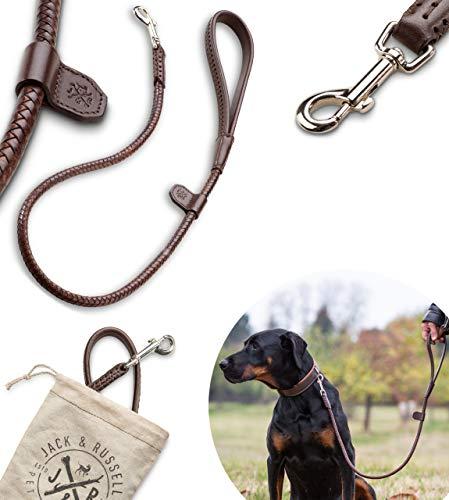 Jack & Russell Premium Correa de Perro de Cuero Newman Trenzado 1m - Correa de Perro de Cuero - Correa con mosquetón de Anillo (Marrón)