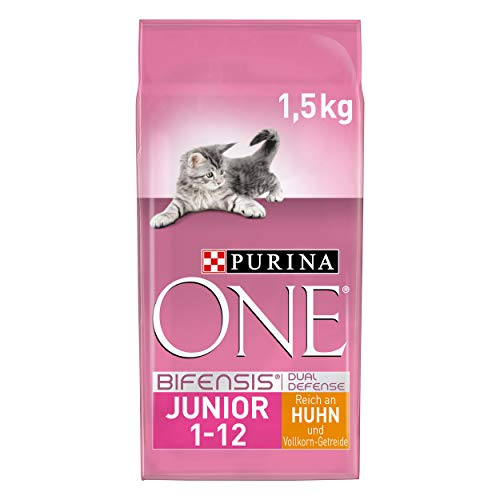 PURINA ONE BIFENSIS JUNIOR 1-12 Katzenfutter Kitten trocken, reich an Huhn, 6er Pack (6 x 1,5kg)