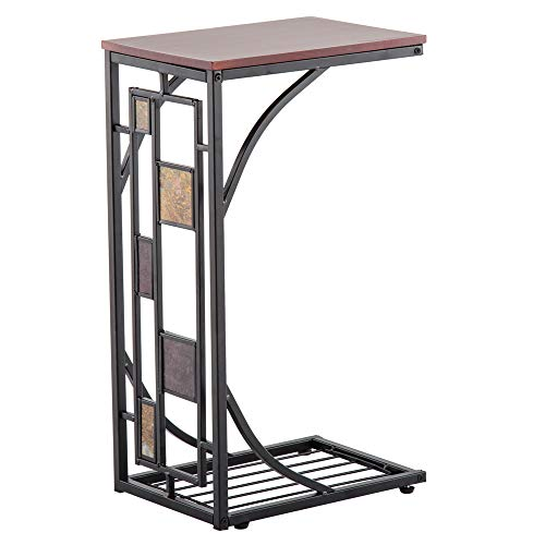 Kcelarec C-Shaped Side Sofa Snack Table Coffee Tray End Table Living Room Furniture (Model 2)