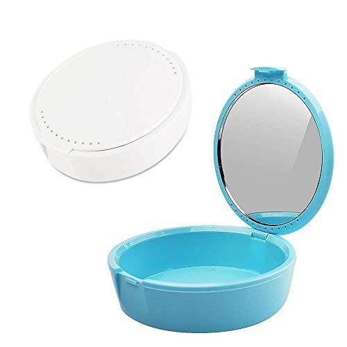 Y-Kelin Caja de retención con espejo retenedor caja de almacenamiento parcial para abolladuras (azul claro + blanco)