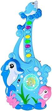 TOPJIN Figura de delfín de dibujos animados guitarra eléctrica jugar instrumentos de música juguetes para niños