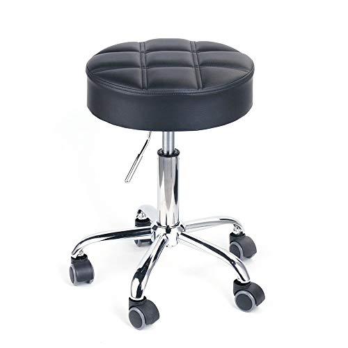 Leader Accessories Sgabello da Lavoro con Ruote Sedie da Bar Cromato Regolabile Girevole Nero