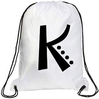 IMPRESS Drawstring Sports Backpack White with Joker Letter K