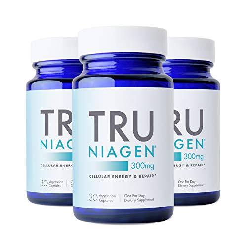 TRU NIAGEN NAD+ Booster Supplement Nicotinamide Riboside NR for Energy Metabolism, Cellular Repair & Healthy Aging (Patented Formula) More Efficient Than NMN - 30 Count - 300mg (3 Months / 3 Bottles)
