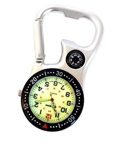 Klox Unisex Pocket Fob Watch White Silver con mosquetón, brújula y abridor de Botellas para médicos Enfermeras Pantalla analógica Movimiento de Cuarzo SC
