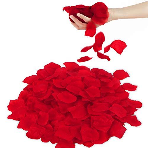 3000 Pétalos de Rosa Artificiales Rojo, San Valentín Decoración Artificiales Rosas Flores Confeti, Decoración Pétalos para Bodas Romántica, Decoraciones de Casarse Conmigo, San Valentín y Compromiso