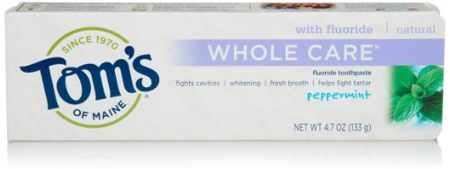Tom's of Maine Natural Whole Care Toothpaste, Peppermint, 4.7 Ounce