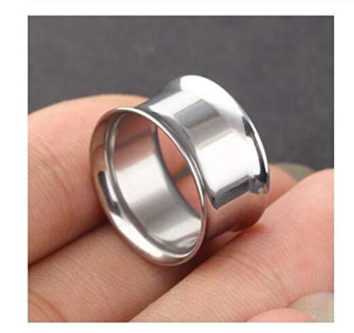 Tapones de acero sin tornillos, expansor de túnel, dilatador de túnel, dilatador, 5/8, 2 g, dilatación de oreja (color principal de la piedra: 10 mm, color metálico: plata)
