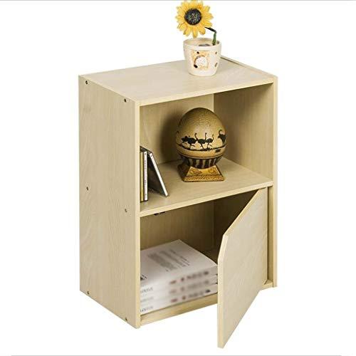 2 Tier 2 Secties met 1 Deur en 1 Open kubus Planken Boekenkast Boekenkast Opslag Eenheid Eiken Hout DVD CD-Display Rack