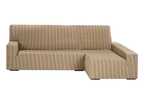 Funda Elástica para Sofá Chaise Longue, modelo Mejico, Brazo Derecho, color beige, tamaño desde 240 a 280 cm