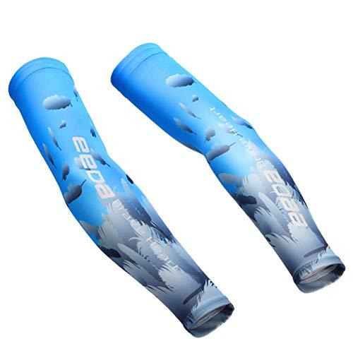 Bwiv Unisex Manguitos para Deportes Dispositivo de Ciclismo Anti UV protección Solar UPF 50+ Estampado en círculos Manguitos para Correr Voleibol excursión 1 par Azul S