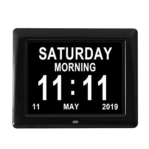Aowasi [Mando a Distancia] Reloj con Calendario de 12 alarmas de día, Gran Pantalla para Colgar en la Pared o Estante de Escritorio con visión de Demencia, Reloj Digital Personas Mayores
