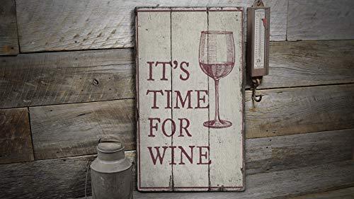 NoBrands Señal de madera con texto en inglés 'Time For Win', signo de madera para vino 'Old Wood Time For Win', decoración de madera rústica para el hogar, placa de madera estilo granja